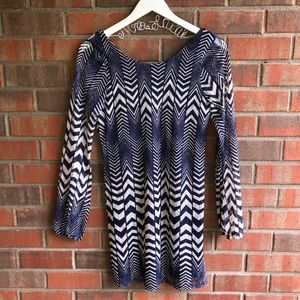 🔴 Women's Blue Print Dress with Sleeves